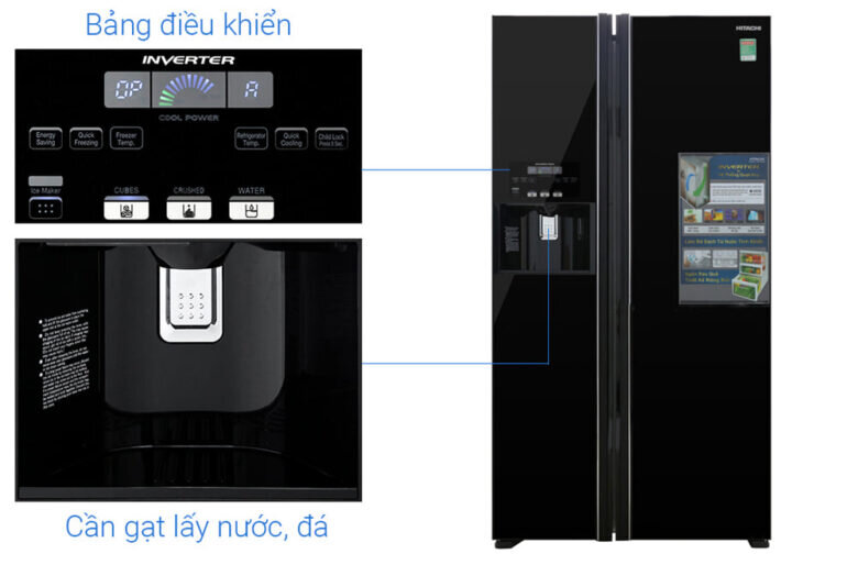 Bảng điều khiển tủ lạnh Hitachi 605 lít R-FS800GPGV2 (GBK)