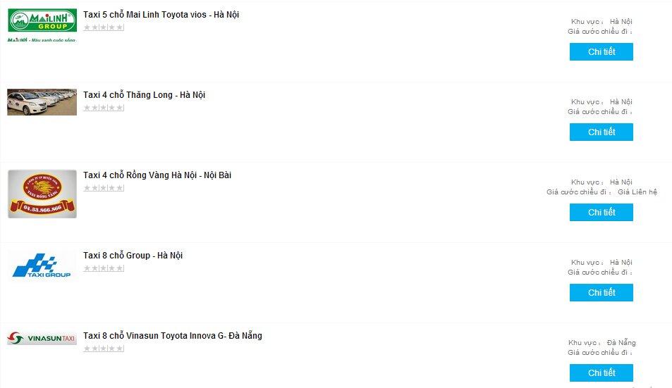 Vào Websosanh.vn để tham khảo giá các hãng taxi uy tín