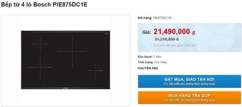 Bếp từ Bosch PIE875DC1E giảm sốc giá chỉ còn 21.490.000 vnđ