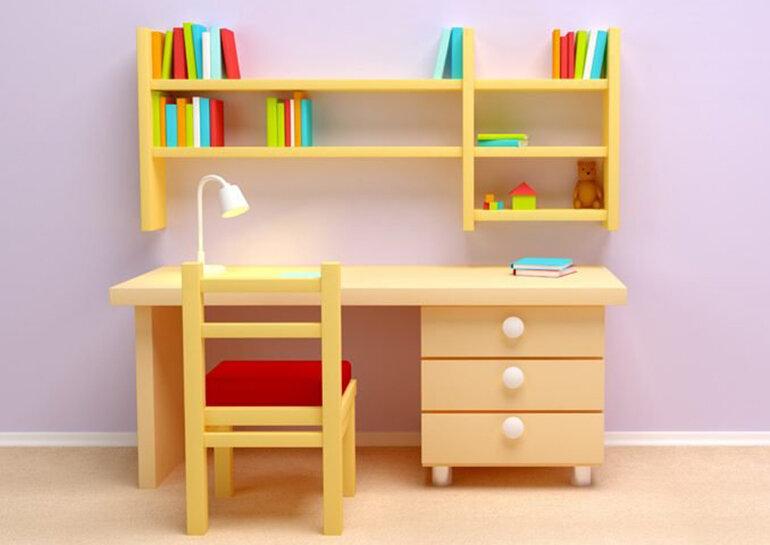 Bàn học trẻ em đẹp với giá sách được thiết kế treo tường