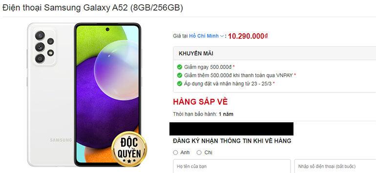 galaxy a52 giá bao nhiêu