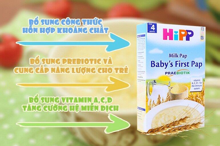 Bột ăn dặm Hipp chứa đầy đủ các thành phần dinh dưỡng cần thiết cho bé phát triển khỏe mạnh