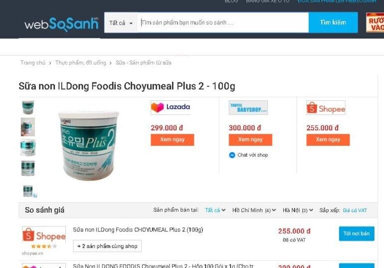 Giá sữa non Hàn Quốc Ildong số 2 trên thị trường bao nhiêu tiền