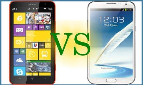 Nokia Lumia 1320 (trái) và Samsung Galaxy Note 2. Ảnh: Internet