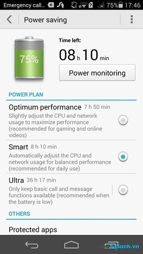 Power saving đem đến cho bạn tuỳ chọn tiết kiệm tối đa dung lượng pin