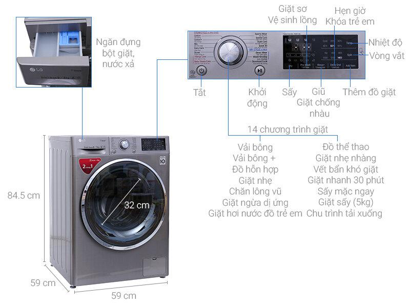 Máy giặt LG FC1409D4E sở hữu các thông số ưu việt cùng thiết kế sang trọng, cao cấp
