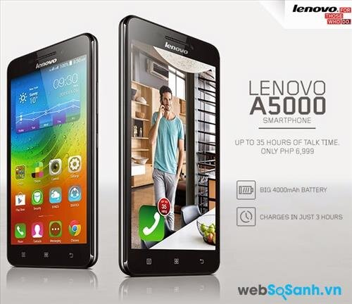 Pin dung lượng cao là một trong những điểm mạnh của Lenovo A5000