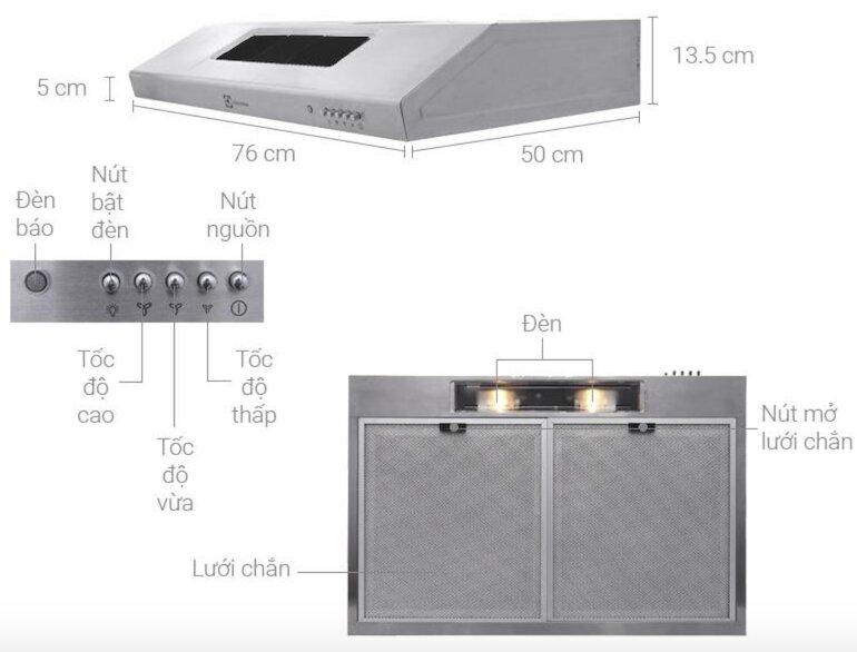 Những tính năng nổi bật của máy hút mùi Electrolux eft7516x