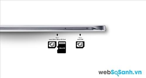 Với khe cắm Sim lai bạn có thể tùy chọn để gắn sim thứ 2 hoặc gắn thẻ nhớ microSD