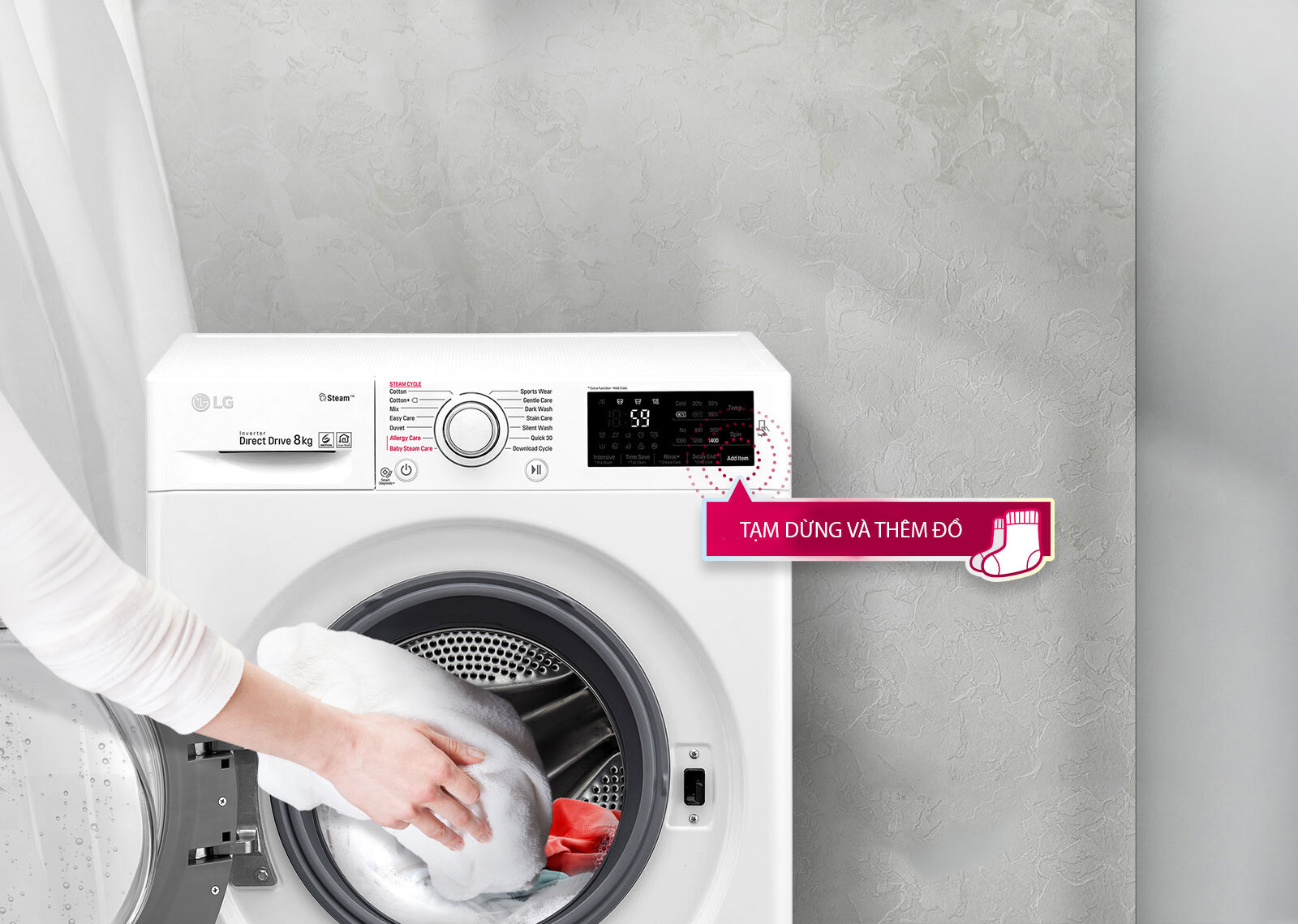 Bạn có thể tạm dừng và thêm đồ vào với máy giặt LG FC1408S4W2