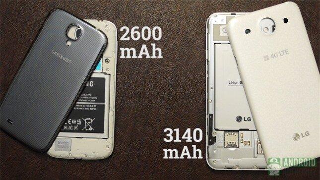 Pin của Optimus G Pro lớn hơn nhiều so với Galaxy S4