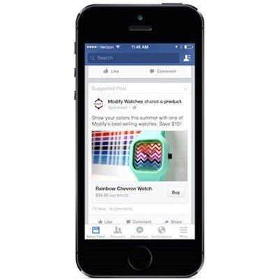 Nút Buy đang được thử nghiệm trên một số banner quảng cáo tại Mỹ trên mạng xã hội Facebook.