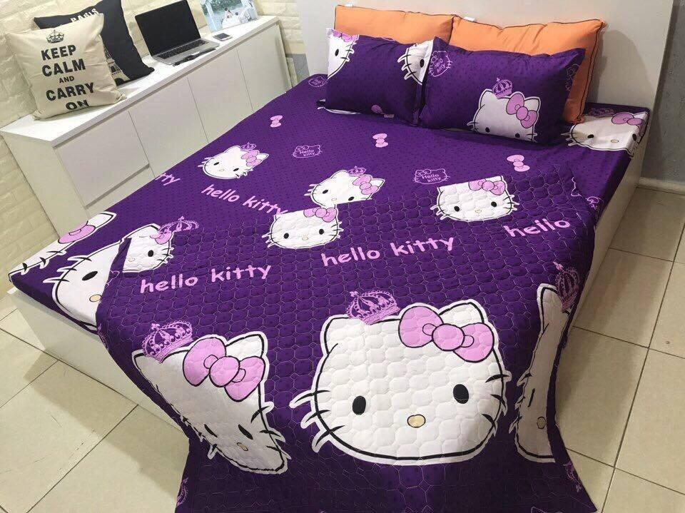 Chăn ga gối Hanja hình Hello Kitty cho bé