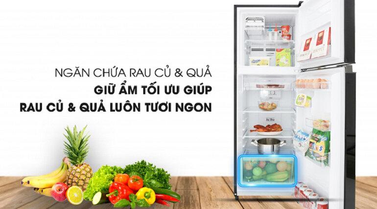 chiếc tủ lạnh Toshiba này có sẵn một ngăn chứa rau củ quả với thiết kế rộng