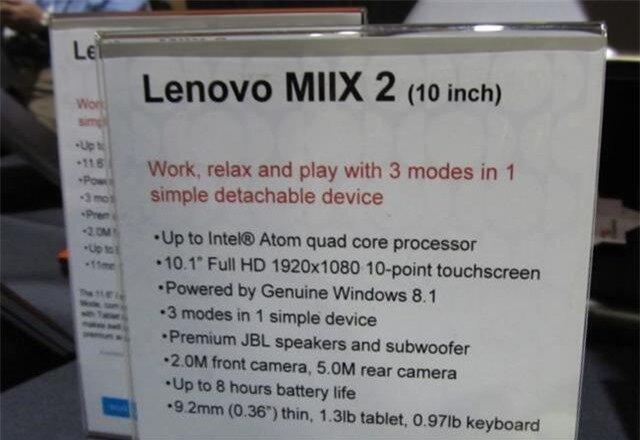 Bảng thông tin cấu hình sơ bộ cho phiên bản Lenovo Miix 2 10