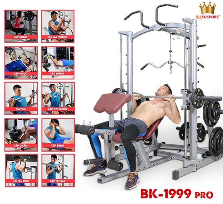 Giàn tạ Kingsport BK-1999 PRO hỗ trợ 15 bài tập khác nhau