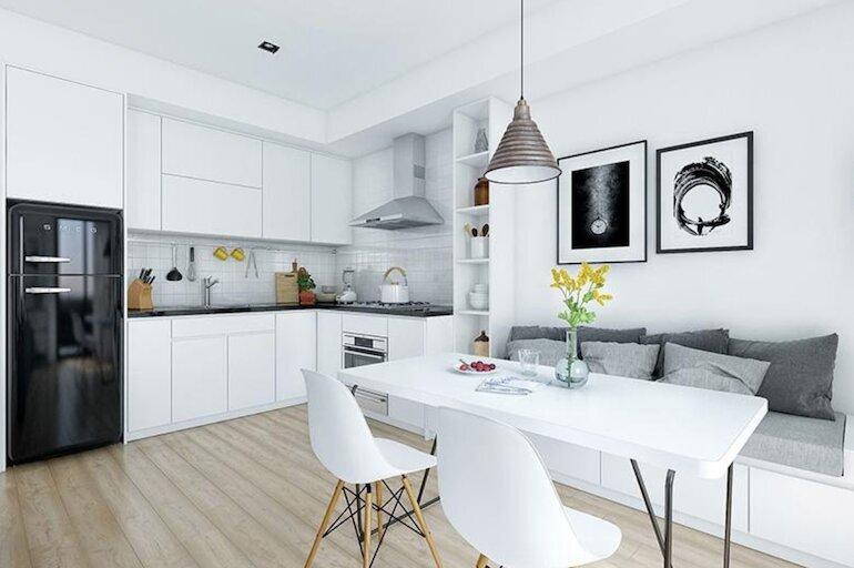 Sắp xếp không gian nội thất nhà bếp thông minh tinh gọn