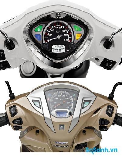 Mặt đồng hồ của Yamaha Acruzo có phần đẹp và dễ nhìn hơn