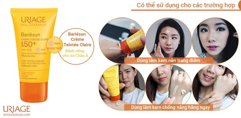 Kem chống nắng Uriage Bariesun Creme Teintee Claire