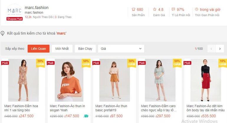 Coupon giảm 25% khi mua sản phẩm thời trang nữ thuộc thương hiệu MARC chọn lọc