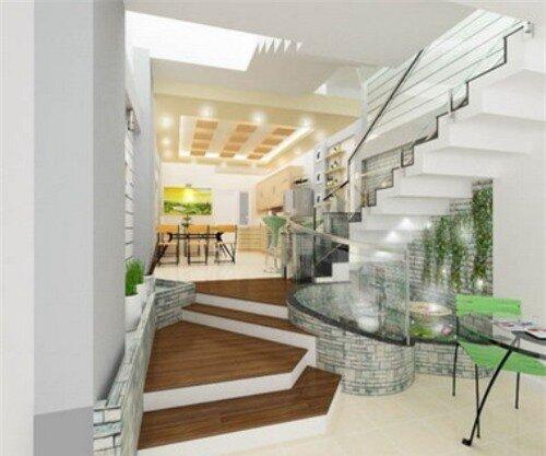 Trang trí gầm cầu thang tô điểm cho phòng khách thêm ấn tượng.