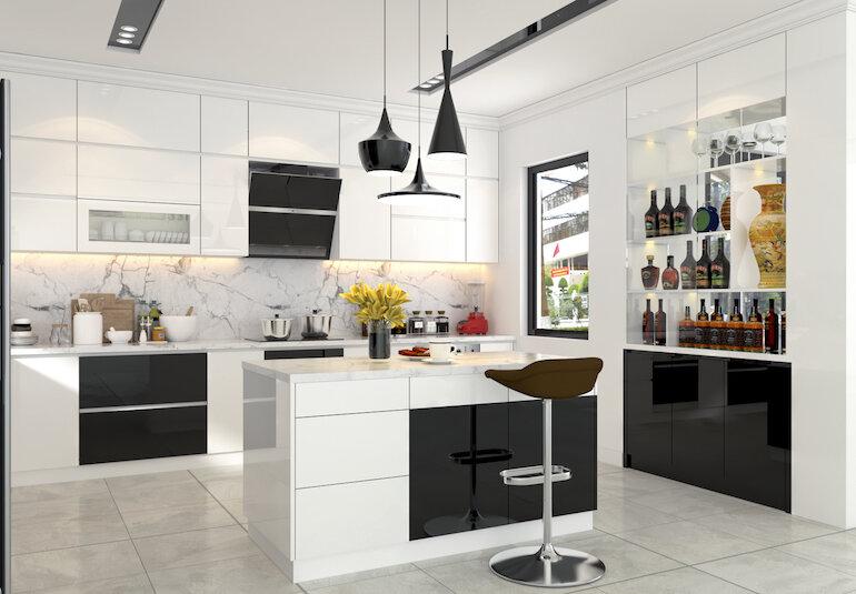 Cách bố trí nội thất nhà bếp rộng rãi, sang trọng