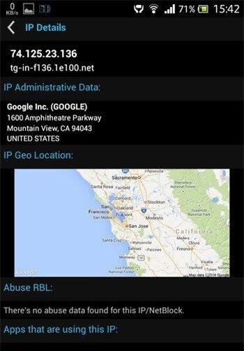 Thông tin về một tiến trình kết nối đến máy chủ đặt tại Mỹ của Google