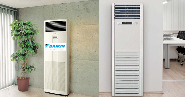 So sánh thiết kế điều hòa cây Daikin và LG
