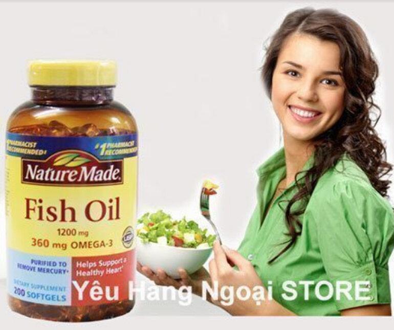 Dầu cá cao cấp Fish Oil 1200 mg 360 mg Omega 3 Nature Made 200 viên cho trái tim khỏe mạnh