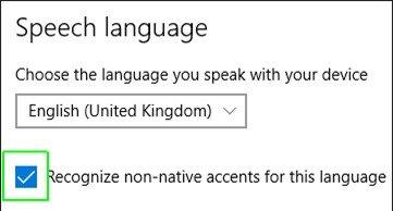 Check 'recognize non-native accents'