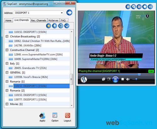 SopCast là phần mềm mà bất cứ ai yêu thích bóng đá và thường xuyên xem bóng đá trực tuyến đều sử dụng