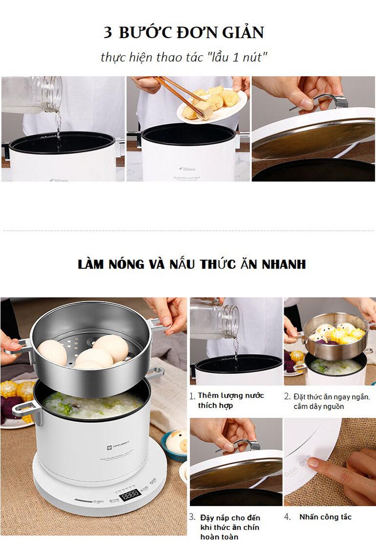 Các bước nấu nướng bằng nồi lẩu Ranbem RBM-1036E cao cấp