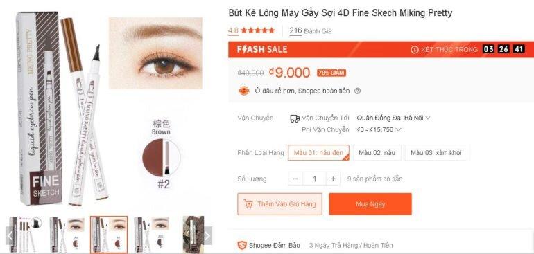 Bút Kẻ Lông Mày Gẩy Sợi 4D Fine Skech Miking Pretty - Sale 78% giá chỉ còn 9k