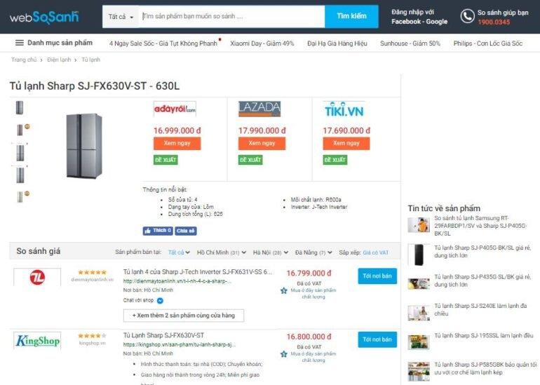 Giá tủ lạnh sharp 626 lít sj-fx630v-st bao nhiêu tiền ?
