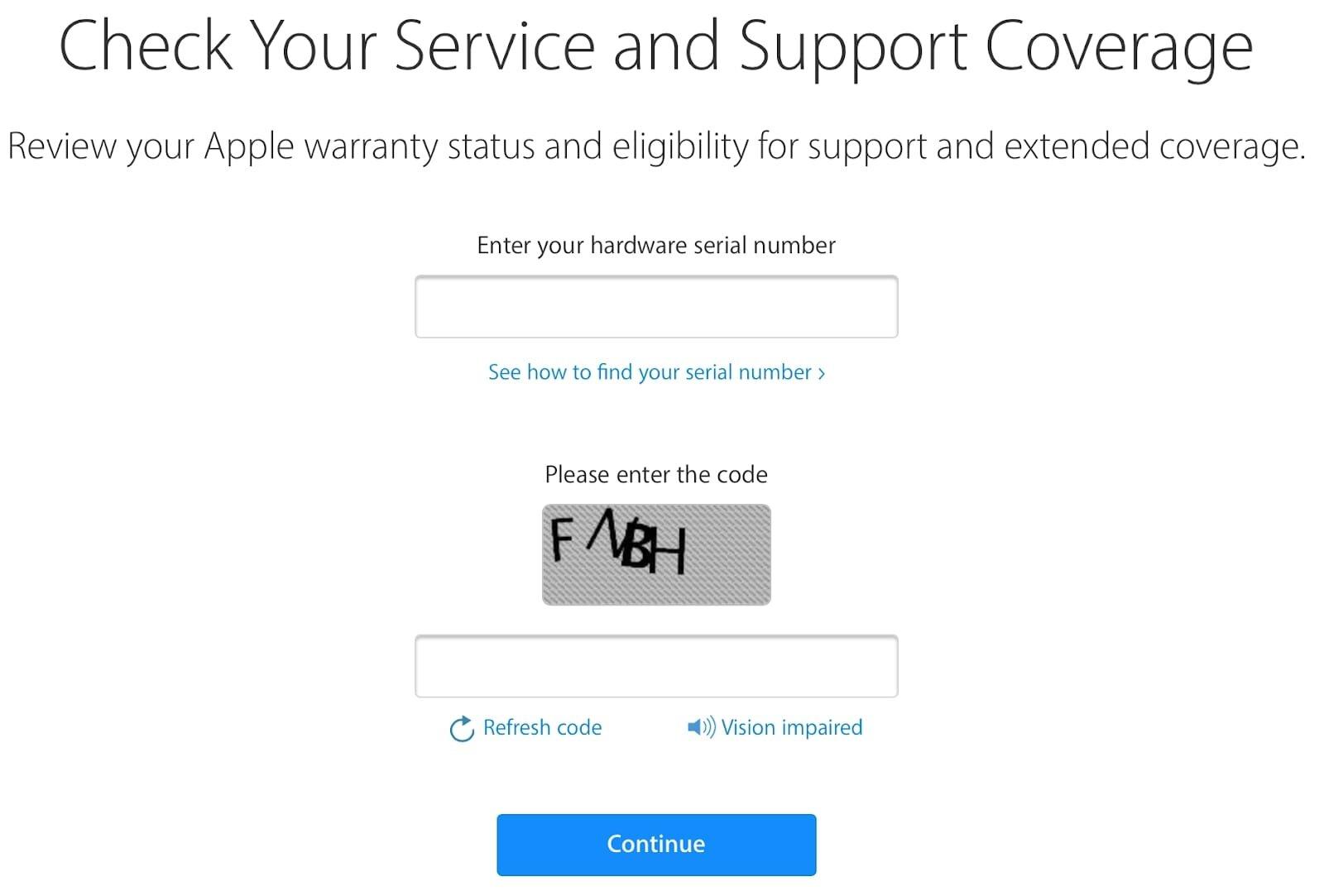 Check IMEI tại trang web của Apple
