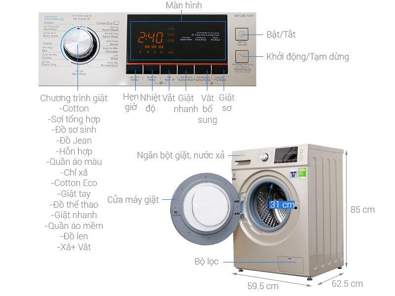Giá máy giặt Midea loại lồng ngang thường khá phải chăng