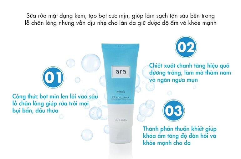 Thông tin chi tiết về sữa rửa mặt Ara