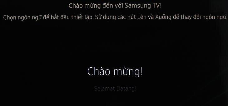 Chọn Chào mừng! để sử dụng tivi bằng tiếng Việt.