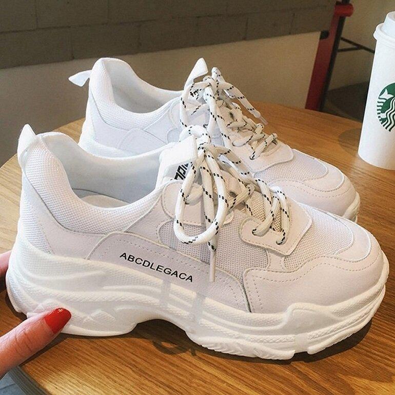 giày nữ trắng độn đế