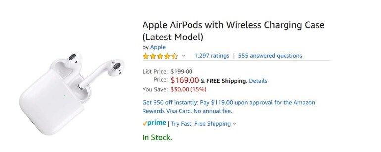 Apple AirPods với vỏ sạc không dây (Mẫu mới nhất) - Giá bán $ 169,00 (tiết kiệm $ 30)