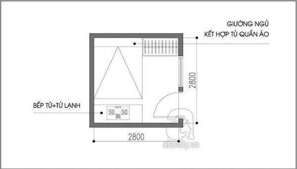 Tư vấn bố trí nội thất cho căn phòng 7,8m² có cả giường và bếp 2