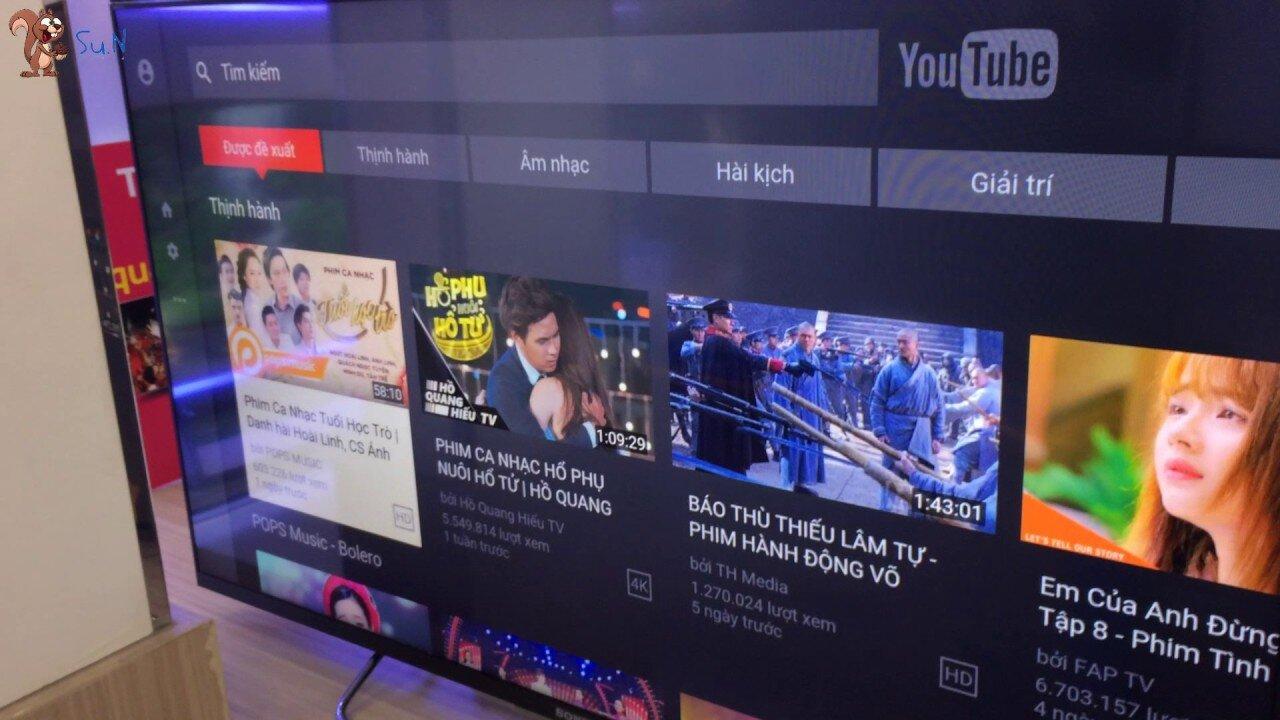 Giao diện YouTube có thể khác nhau ở các loại tivi