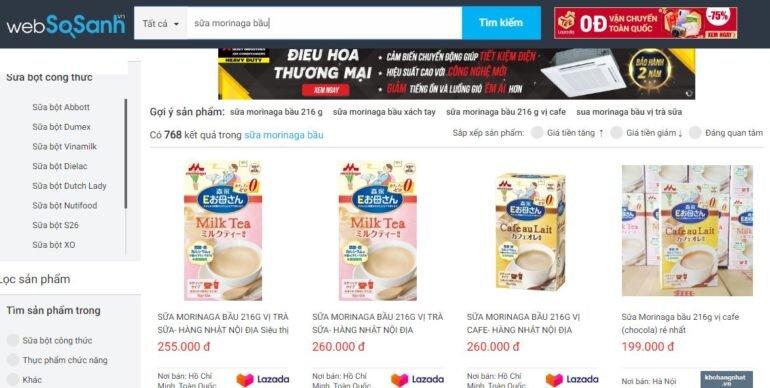 Giá sữa Morinaga cho bà bầu các vị bao nhiêu tiền?