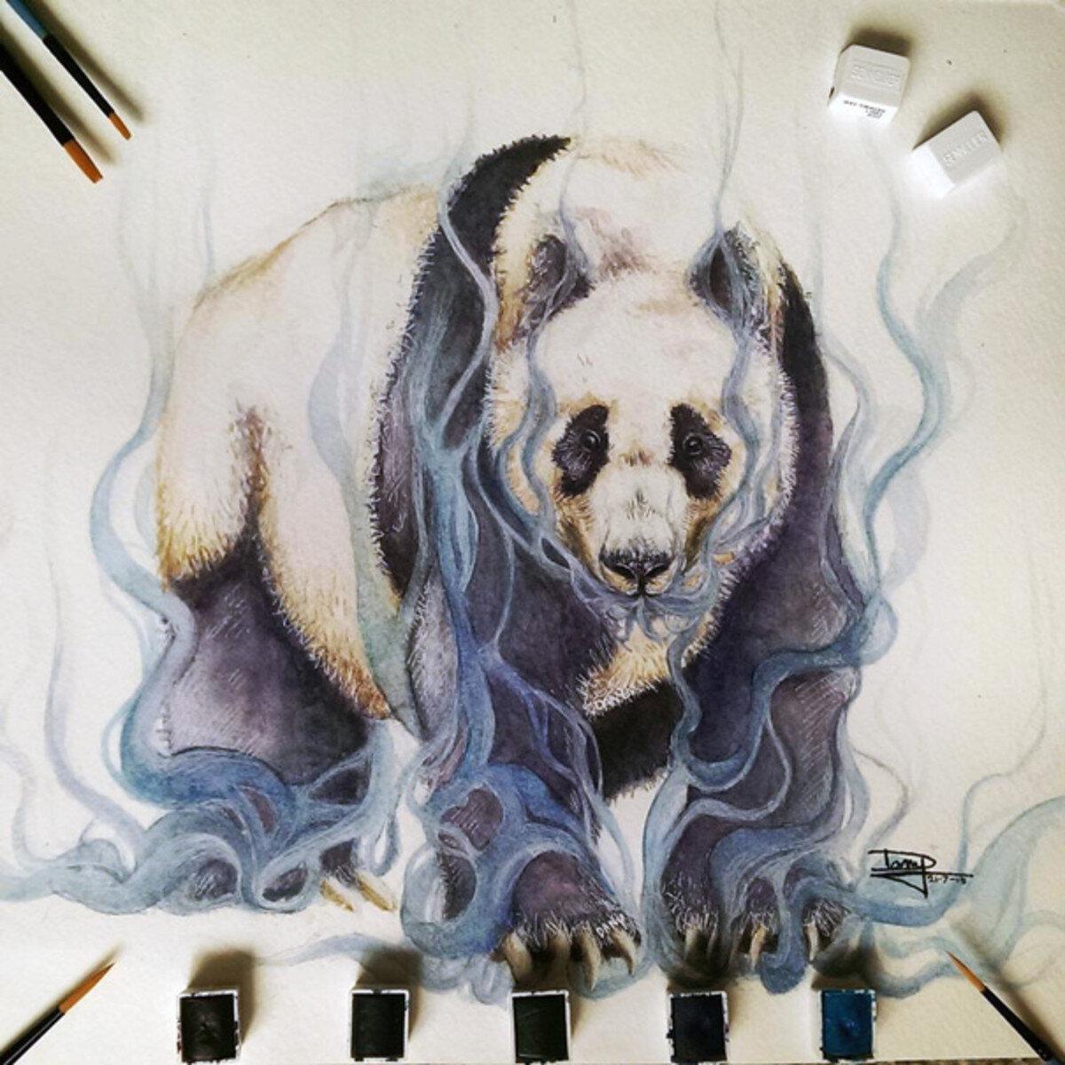 Có cảm giác như đang đối mặt với một chú gấu trúc thật sự khi nhìn vào bức tranh