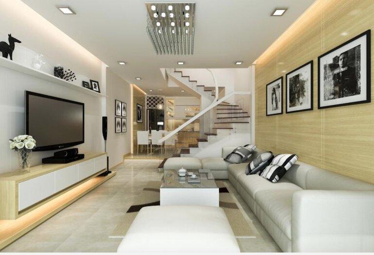 Xây dựng bố cục rõ ràng, phù hợp để trang trí nội thất phòng khách nhà ống