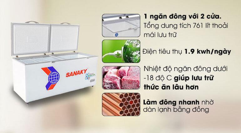 Tủ đông Sanaky vh8699hy3 được tích hợp nhiều tiện ích cho người dùng