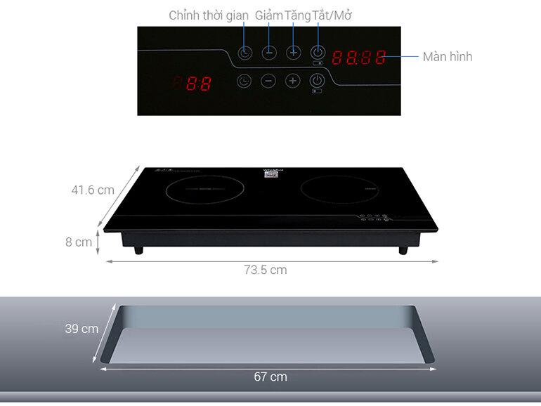 Bếp từ hồng ngoại đôi Whirlpool ACH7327-BLV kích thước tương đối nhỏ gọn