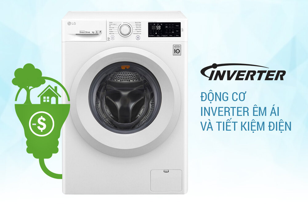 Thoải mái giặt giũ không lo tốn nhiều điện với hệ thống Inverter thông minh