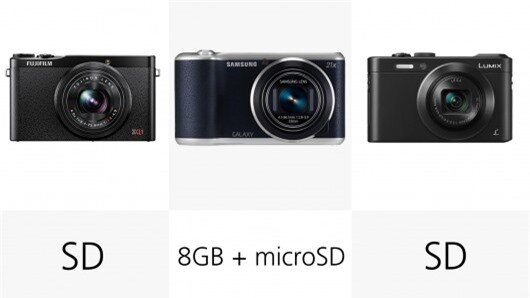 The Samsung Galaxy Camera 2 accepts microSD cards, and has 8 GB of internal memory