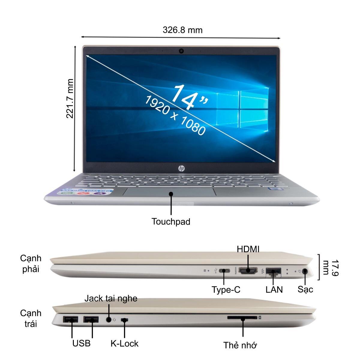 Laptop HP Pavilion 14-ce0024TU 4ME97PA 14 inches